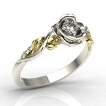 Ring i 14k guld, formad som ros med safir och 6 diamanter 0,03ct