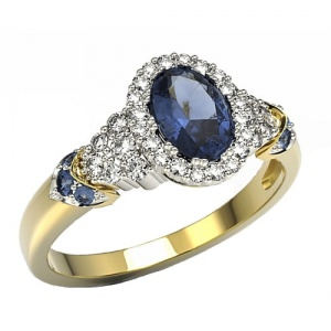 Ring i 14k guld med 7 safirer 1,11ct och 32 diamanter 0,32ct