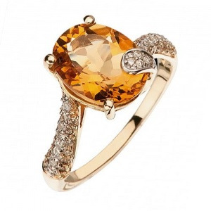 Ring i 14k guld med citrin 3,86ct och 57 diamanter