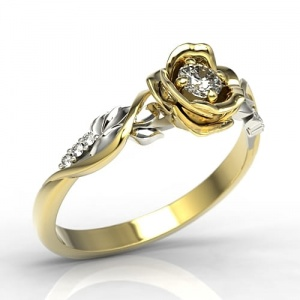 Ring i 14k guld, formad som ros med 7 diamanter 0,15ct