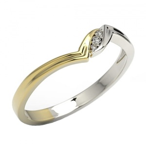 Ring i 14k guld med 3 diamanter 0,02ct